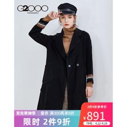 G2000商场同款女装毛呢外套 冬季新款气质条纹衣袖羊毛大衣女88221329 黑色/99 165/84A/M *2件