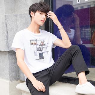 yaloo 雅鹿 YL010 男士纯棉短袖 超人字母白色 M