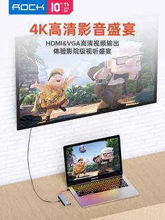 ROCK 洛克 十合一 Type-C扩展坞(PD/千兆网口/HDMI等)