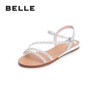 BeLLE 百丽 T6E1DBL9 女士平底凉鞋