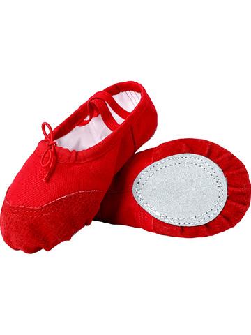 Nan ji ren 南极人 儿童舞蹈鞋女软底练功鞋男童女童跳舞鞋幼儿红色中国舞鞋芭蕾舞鞋