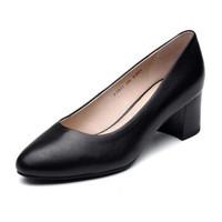 Bata2019秋新专柜同款商务都市潮流浅口粗跟奶奶鞋单鞋女AIH01CQ9
