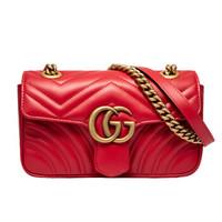 再降价、88VIP:Gucci GG Marmont系列 446744 绗缝双G斜挎包