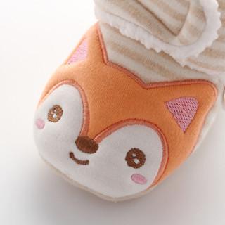威尔贝鲁(WELLBER)婴儿脚包宝宝夹棉卡通鞋子保暖秋冬彩棉靴小狐狸13cm