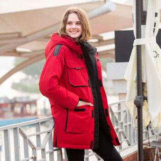 坦博尔2019新款羽绒服女时尚保暖连帽90%鸭绒中长款加厚女士上衣外套TD19176 正旗红 160/84A