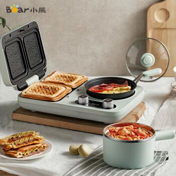 小熊(Bear)烤面包机多士炉三明治机电饼铛电热锅电火锅多功能早餐机 DSL-A13F1