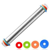 不锈钢擀面杖可调型调节厚度刻度擀面棍面皮料揉面厨房烘焙工具