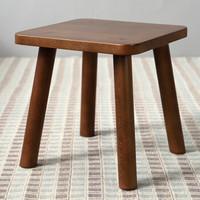 爱必居 实木小凳子家用矮板凳小孩凳可爱方凳 榉木胡桃色