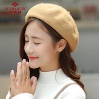 俞兆林(YUZHAOLIN)帽子女秋冬韩版英伦贝雷帽复古潮流百搭帽日系南瓜帽子 羊毛贝雷帽 驼色