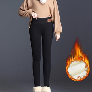 丽乔 加绒裤女显瘦2019冬季新款女装厚打底裤高腰一体裤保暖棉裤 HCXFTA650 黑色 M