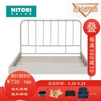 日本NITORI尼达利极简铁艺床双人铁架床简约宿舍网红床 珍妮 FB460-01/150 白色 双人床(261012490100)