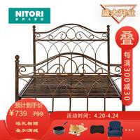 日本NITORI尼达利复古铁艺床铁架床公主床现代简约单人床宿舍网红床FB470 镀铜色1.2米(261010717100 )