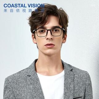Coastal Vision 镜宴 中性防蓝光防辐射方框套镜 cvo1003 黑色 镜框+依视路钻晶A4非球面1.60镜片