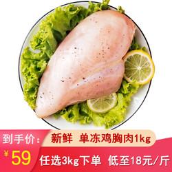田野尽头 新鲜鸡肉 鸡大胸 1000g/份 *3件+凑单品