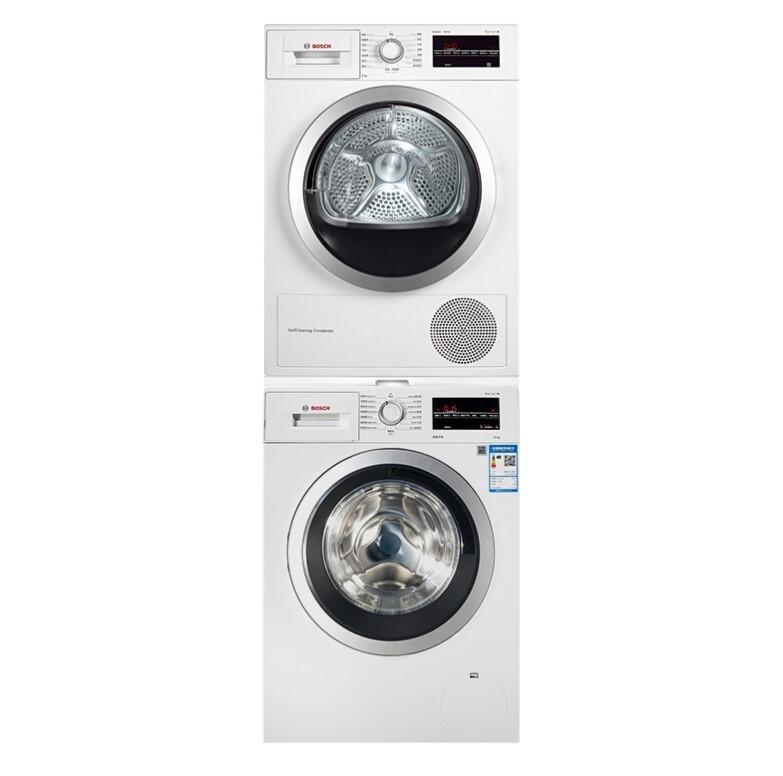 BOSCH 博世 Serie4系列 WAP282602W+WTW875601W 全自动变频滚筒洗烘套装 10kg洗衣机+9kg烘干机 白色
