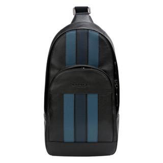COACH 蔻驰 奢侈品 男士蓝色条纹配黑色皮质胸包单肩斜挎包 F49318 QBN3E
