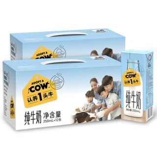 认养一头牛 全脂纯牛奶 250ml*12盒*2箱