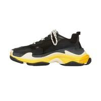 BALENCIAGA 巴黎世家 Triple S 男士经典做旧复古厚底老爹鞋运动鞋 黑色/黄色 39