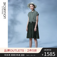 EXCEPTION例外原创新款假两件撞色衬衫连衣裙女 文艺收腰及膝裙