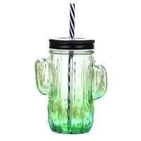 优淘客 仙人掌杯 水杯 果汁杯 饮料杯 有孔盖子 渐变绿
