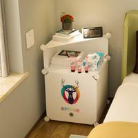 蔻丝简易床头柜简约现代塑料非实木组装多功能小柜子储物柜欧式床头收纳柜子 1列2层半转角