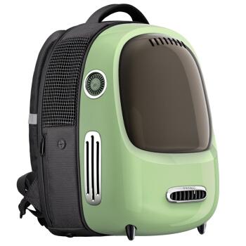 小佩PETKIT透明透气外出猫包航空箱宠物包大号便携背包猫笼太空舱小型犬双肩包猫咪背包支持充电宝 复古绿