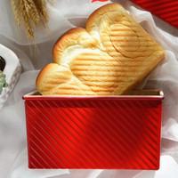 阳晨烘焙工具红色波纹不沾土司盒吐司模具不粘带盖面包蛋糕450g