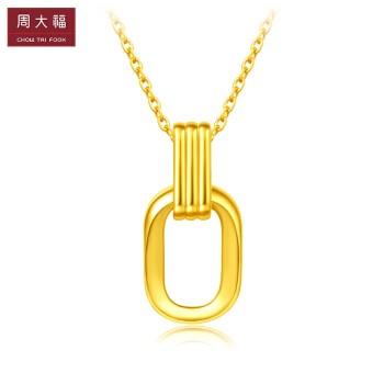 CHOW TAI FOOK 周大福 ing系列 F217317 复古风几何双环项链 约5g