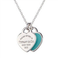Tiffany&Co. 蒂芙尼 RETURN TO TIFFANY系列 27125107 双心925银项链 40.5cm 蓝色