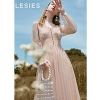 蓝色倾情(LESIES)春女装新款V领网纱蕾丝拼接仙气收腰连衣裙两件套597103 10浅粉 160/84A