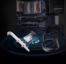 华硕(ASUS)PCE-AC58BT 双频2100M/支持MU-MIMO/蓝牙5.0/支持160MHz 低辐射
