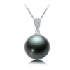 AINUOSHI 瑷乐诗 JD-TPP-003 女士18k白金大溪地黑珍珠钻石吊坠 10-11mm 配925银链