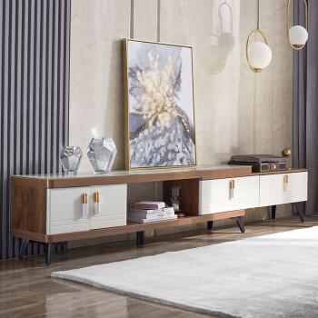 林氏木业 LS186M1-A 北欧简约电视柜 胡桃色+白色