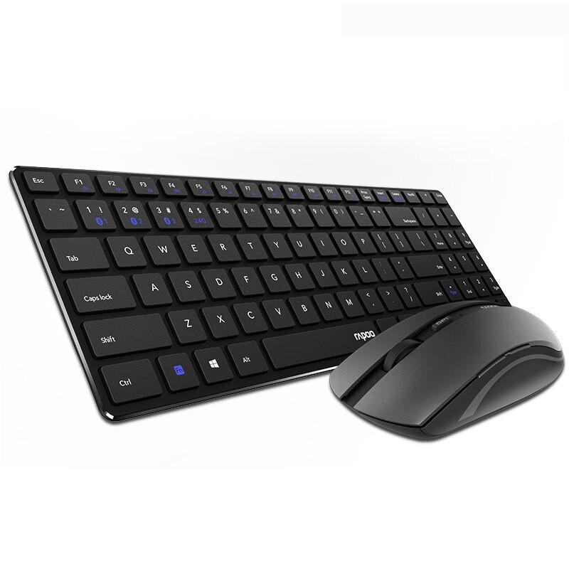 雷柏 (Rapoo) KM660无线键盘鼠标套装 蓝牙4.0键盘鼠标 静音超薄 办公家用 商务键鼠 KM660黑色
