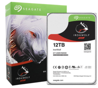 SEAGATE 希捷 酷狼IronWolf NAS硬盘 12TB 7200rpm 256MB ST12000VN0008