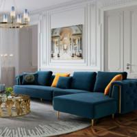 林氏木业 RBC1K 美式乡村轻奢沙发 双扶手三人 深空蓝色
