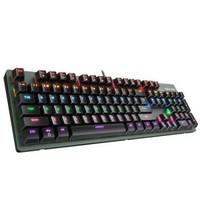 英菲克(INPHIC)V910机械键盘 游戏键盘 办公键盘 有线电脑键盘 金属面板 104键无冲混光宏编程 暗夜绿 红轴