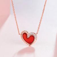 周六福 KIMN065709 18K金钻石 爱心玛瑙套链