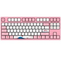 AKKO 3087 机械键盘 世界巡回东京樱花键盘 游戏键盘 女性 电竞 87键 吃鸡键盘 绝地求生  粉色 粉轴 自营