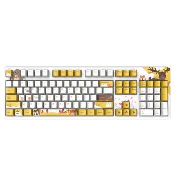 黑爵(AJAZZ)毛茸茸有线机械键盘 游戏键盘 PBT热升华 Cherry红轴 白色