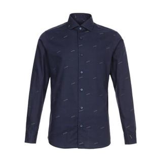杰尼亚 Z ZEGNA 男士棉质长袖衬衫深蓝色LOGO图案 605161 9DTDAL 40码