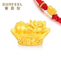 赛菲尔 黄金貔貅铜钱财字手串 约0.4-0.6克
