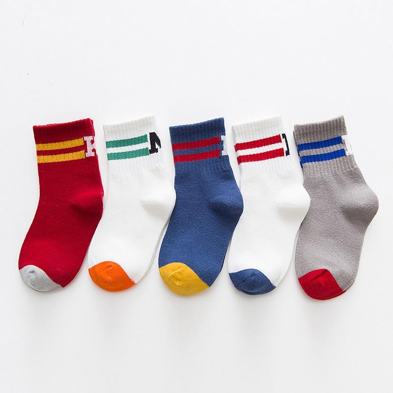 馨颂 儿童棉质中筒袜子 5双装