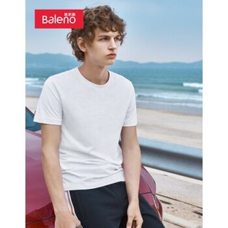 Baleno 班尼路 88902284 时尚圆领T恤 白色 L