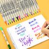 日本吴竹双色双头水彩笔 成人学生用彩色软头软毛手账勾线马克画画笔棕色黑色绘画毛笔套装手绘brush24色颜色