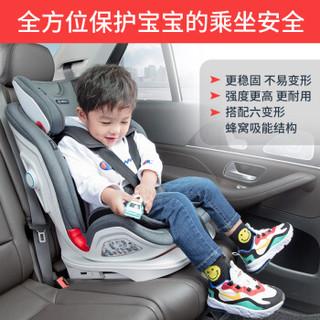 360宝宝汽车儿童安全座椅9个月-12岁 isofix接口  T901灰色版