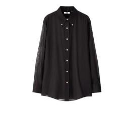 UNIQLO 优衣库 女士纯棉纽扣衬衫425648 黑色 S