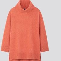 UNIQLO 优衣库 女士两翻领长袖针织衫420518 粉橙色 S