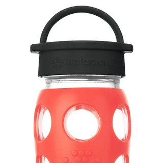 lifefactory 美国进口玻璃水杯含硅胶杯套 运动水壶男女士茶杯车载杯子平盖650ml鲜红色