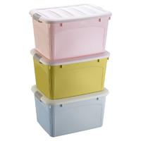 收纳箱家用衣服玩具整理箱塑料有盖衣物储物盒子特大号清仓三件套 *3件
